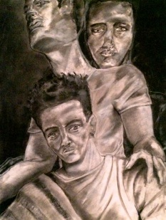 'Me, Myself, and I': charcoal & conte crayon